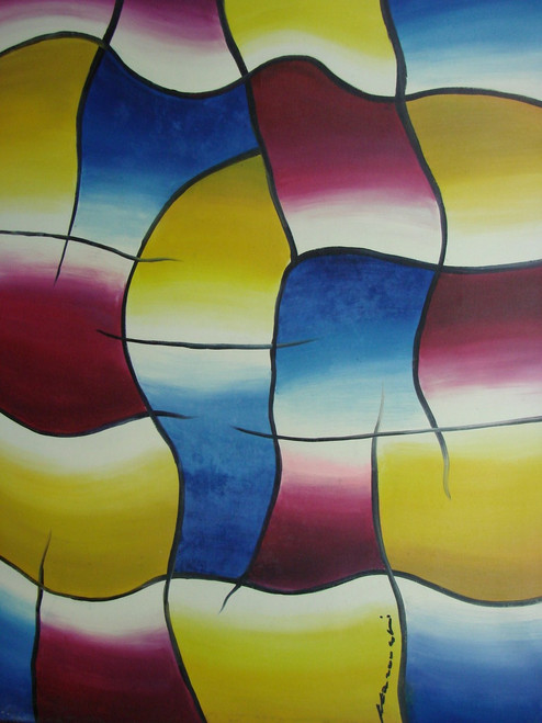 Beautiful large painting on canvas, stretched but without frame, unsigned.  Abstract squares of blue, purple and yellow are outlined in black.