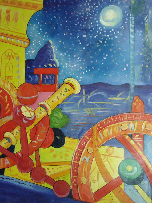 Beautiful large sized painting on canvas, stretched but without frame, signed by B. J..  An abstract rendering of orange and yellow star-gazing equipment includes a telescope pointed towards a midnight blue sky filled with white stars.
