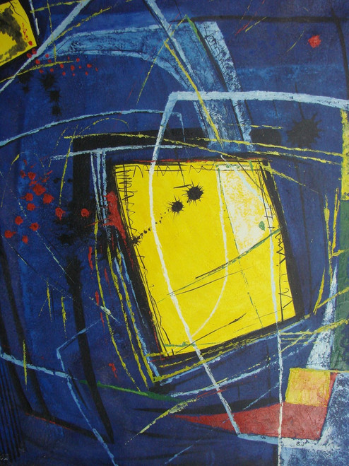 Beautiful painting on canvas, stretched but without frame, signed by B. J..  A dark blue background has a focal point of an abstract yellow square with accents of red and white.
