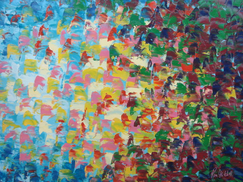 Beautiful painting on canvas, stretched but without frame, signed by Ron Mitchell.  Numerous heavy, short brush strokes compose this medium sized abstract painting of light blue, pink, yellow, green, purple and red.