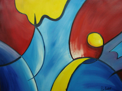 Beautiful painting on canvas, stretched but without frame, signed by Ron Mitchell.   Swirling shapes of blue, dark red and yellow create this medium sized abstract painting.