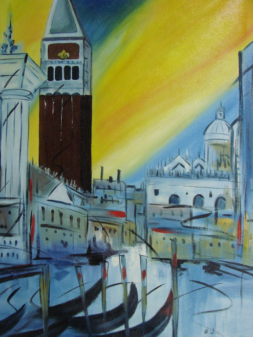 Beautiful ,medium sized painting on canvas, stretched but without frame, signed by B. J..  A yellow and blue sky overlook a city of grey and white buildings, and a tall brown clock tower.