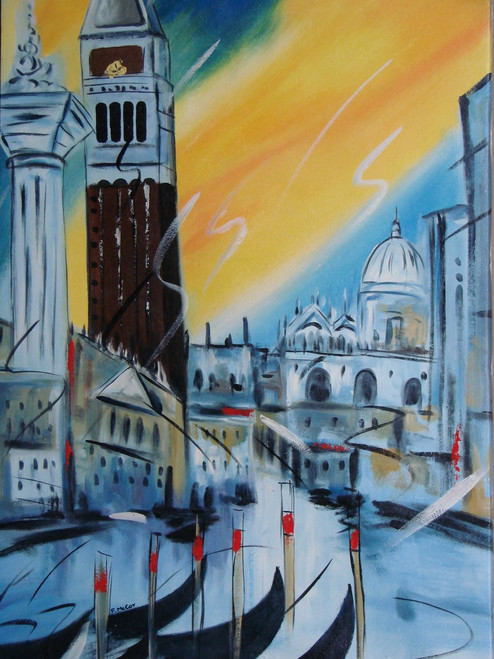 Beautiful medium sized painting on canvas, stretched but without frame, signed by F. McCoy.  An orange and blue sky overlook a city of grey and white buildings, and a tall brown clock tower.