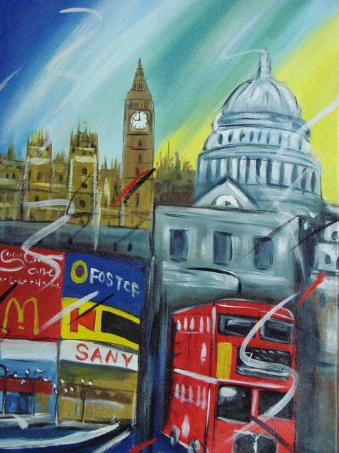 Beautiful medium sized painting on canvas, stretched but without frame, signed by F. McCoy.  A busy London cityscape with a red double decker bus, colorful billboards, Big Ben, and other iconic monuments.