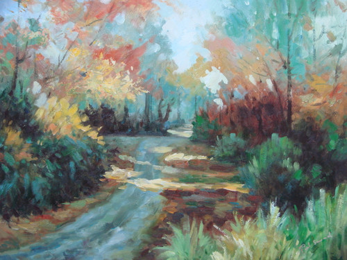 Beautiful painting on canvas, stretched but without frame, signed by Paul Seward.  A dirt path windy through autumn colored trees of red, orange, yellow and green.