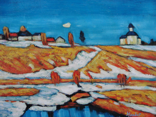 Beautiful painting on canvas, stretched but without frame, signed by Monbet.  White snow melts exposing light brown clay in a village of white buildings with blue roofs.