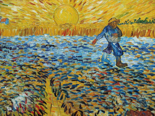 Beautiful medium sized painting on canvas, stretched but without frame, signed by Mickail.  A Van Gogh inspired golden yellow sunset shines down on a man, dressed in bright blue, working in a field of blue, yellow and black crops.