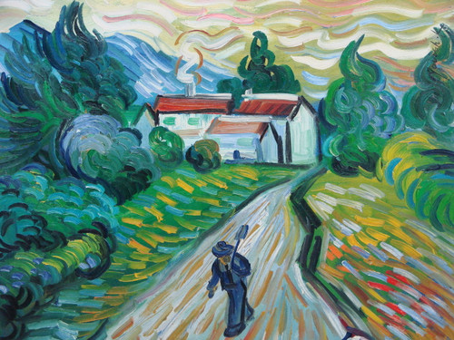 Beautiful medium sized painting on canvas, stretched but without frame, signed by Yovish K..  A man in a charcoal grey suit walks along a path with a shovel. Behind him is a white house with red roof, surrounded by green and blue trees and yellow, green and white grasses.