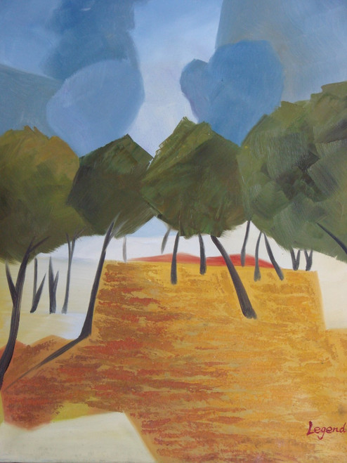 Beautiful medium painting on canvas, stretched but without frame, signed by Legendre.  Abstract olive green trees with skinny brown trunks, grow in a field of brown and orange under a bright blue sky.