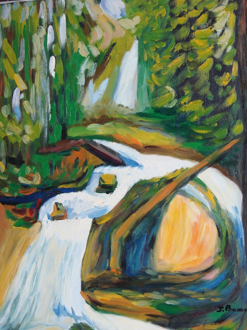 Beautiful painting on canvas, stretched but without frame, signed by J. Prame.  This abstract landscape's focal point is a rushing white waterfall surrounded by brown logs and green, leafy trees.