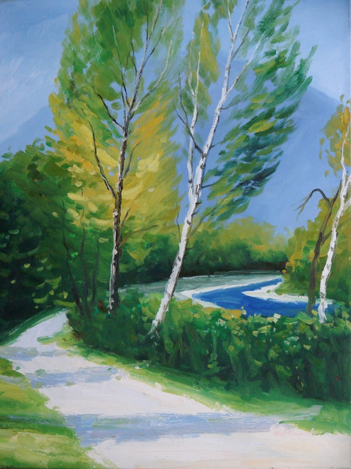 Beautiful painting on canvas, stretched but without frame, signed by Paul Seward.  A white path winds through yellow birch trees and green shrubs with a bright blue stream under a clear blue sky.