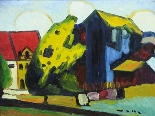 Beautiful painting on canvas, stretched but without frame, signed by Wally.  This abstract landscape centers around a deep blue building with yellow roof with mustard colored grass. Additional crimson, white and red buildings surround it.