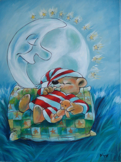 Beautiful painting on canvas, stretched but without frame, signed by Elise.  A brown teddy bear in red and white striped pajamas sleeps under than man in the moon with a soft blue background.