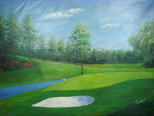 Beautiful large painting on canvas, stretched but without frame, signed by Mickail.  A small stream winds around a golf course with tall leafy trees, light green fairways and red flowers.