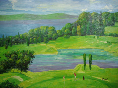 Beautiful large painting on canvas, stretched but without frame, signed by Rosen.  Aerial view of a golf course with yellow, light green and green grass. Mature dark green trees separate two bodies of light blue water.