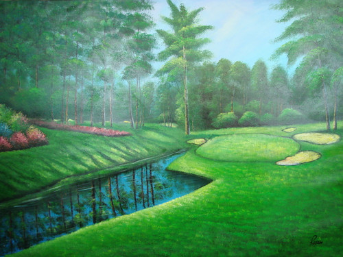 Beautiful large painting on canvas, stretched but without frame, signed by Rosen.  A crystal blue stream sits next to the green on a golf course full of pink flowers and mature green trees.