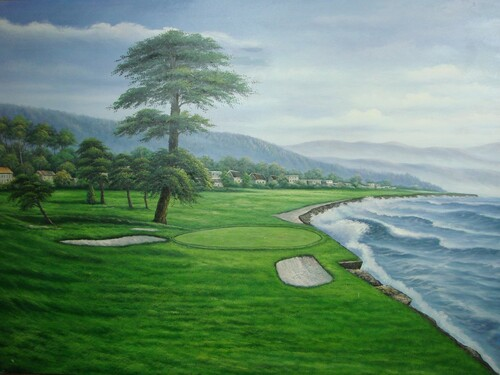 Beautiful large painting on canvas, stretched but without frame, signed by Benton.  Oceanside golf course with dark green grass, sand traps and green trees.