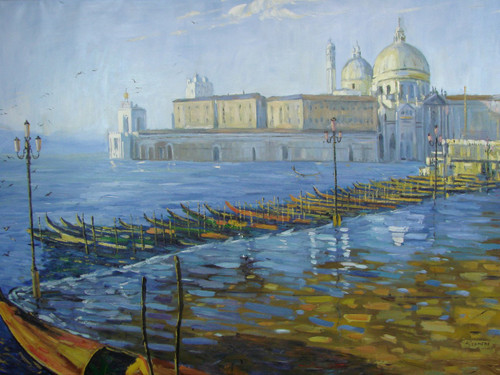 Beautiful large painting on canvas, stretched but without frame, signed by Brunoni.  Tan gondolas line the light blue waters of Venice, with grey and white buildings from the city in the background.