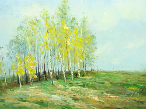 Beautiful medium sized painting, stretched but without frame, by Kingsley.  A group of birch trees with yellow leaves grow in a field of green and brown grasses.
