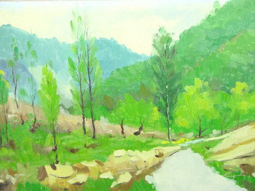 Beautiful medium sized painting, stretched but without frame, by Kingsley.  Bright green trees grow in the valley of lush green hillsides with rocks.