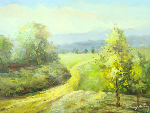 Beautiful medium sized painting, stretched but without frame, by Kingsley.  A narrow path leads from a rolling hillsides of green and yellow trees to a small town off in the distance.