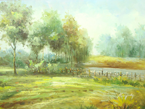 Beautiful medium sized painting, stretched but without frame, by Kingsley.  A wooden fence encompasses a small pond in a field with leafy green trees.