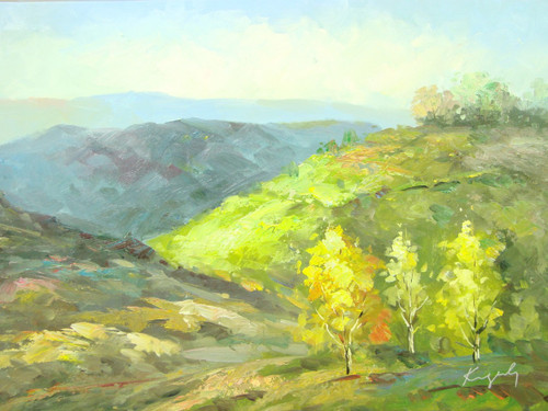 Beautiful medium sized painting, stretched but without frame, by Kingsley.  Golden yellow birch trees grow in the valley of rolling green and tan hills.