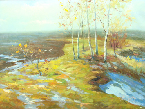 Beautiful medium sized painting, stretched but without frame, by Kingsley.  Small patches of snow melt in a field with birch trees with yellow leaves.