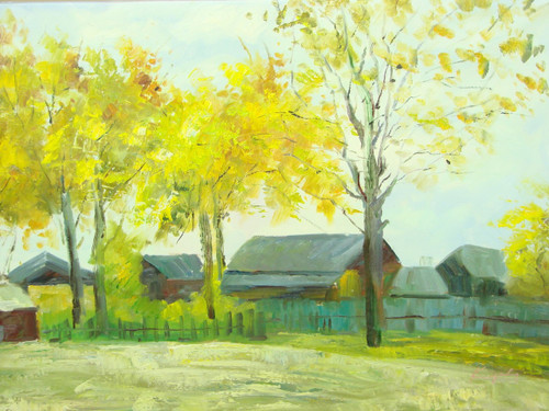 Beautiful medium sized painting, stretched but without frame, by Mickail.  A group of red barns sit behind a small fence leading to an open field lined with yellow leafed trees.