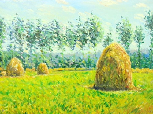 Beautiful medium sized painting, stretched but without frame, by Paul Seward.  Large bales of hay dry in a yellow field lined with green trees.