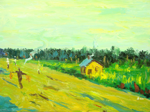 Beautiful medium sized painting, stretched but without frame, by Simon.  People work in a yellow field near a small yellow and brown house surrounded by green grass.