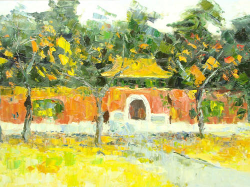 Beautiful medium sized painting, stretched but without frame, by Wally.  Yellow leaves fill the ground in front of a clay colored wall with tall green trees behind it.