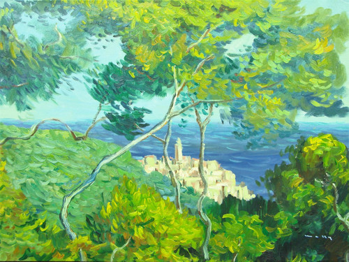 Beautiful medium sized painting, stretched but without frame, by Simon.  Green and yellow trees grow atop a lush hillside overlooking a coastal town and wavy blue water.