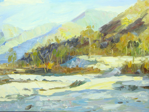 Beautiful medium sized painting, stretched but without frame, by J. Prama.  Light green and yellow colored trees grow at the base of a mountain range.