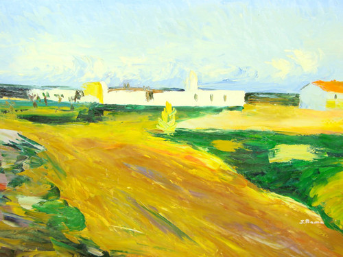 Beautiful medium sized painting, stretched but without frame, by Yovish K..  White buildings line the horizon of a green field with wide paths of yellow and brown.