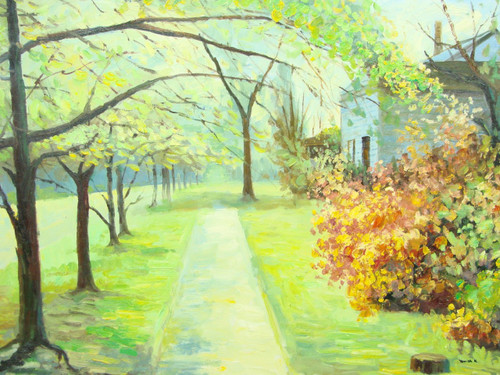 Beautiful medium sized painting, stretched but without frame, by Paul Seward.  A row of bright green trees line a narrow walkway in front of a house surrounded by yellow, red and green shrubs.