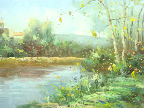 Beautiful medium sized painting, stretched but without frame, by Wolf.  Green grass and green trees, along with yellow leafed birch trees surround a light blue pond outside a small town.