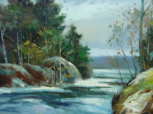 Beautiful medium sized painting, stretched but without frame, by Kingsley.  An icy blue river flows between rocky banks with pine trees and birch trees.