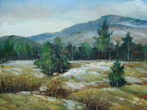 Beautiful medium sized painting, stretched but without frame, by Kingsley.  Patches of snow cover a hilly field filled with dark green trees and mountains in the distance.