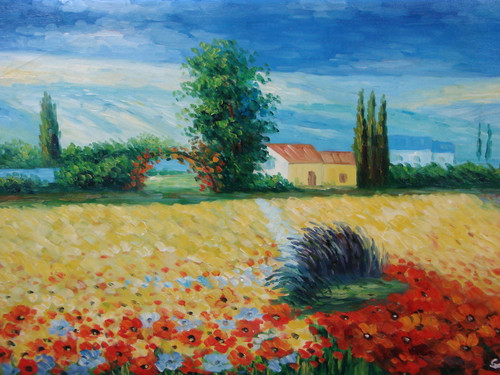 Beautiful medium sized painting, stretched but without frame, by Sandra Lupine.  A field of yellow and red flowers grow in front of houses surrounded by green hedges and trees.