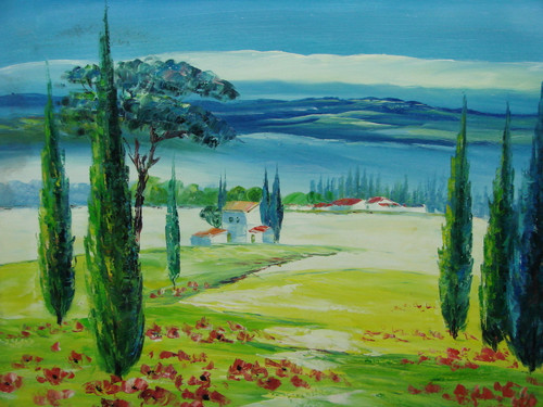 Beautiful medium sized painting, stretched but without frame, by Moubet.  White villas sit in the background of a large, bright green field with red flowers and green trees.