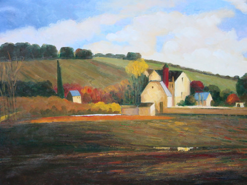 Beautiful medium sized painting, stretched but without frame, by Paul Seward.  A small cluster of buildings sit a the base of a large hill surrounded by green, yellow and orange colored trees.