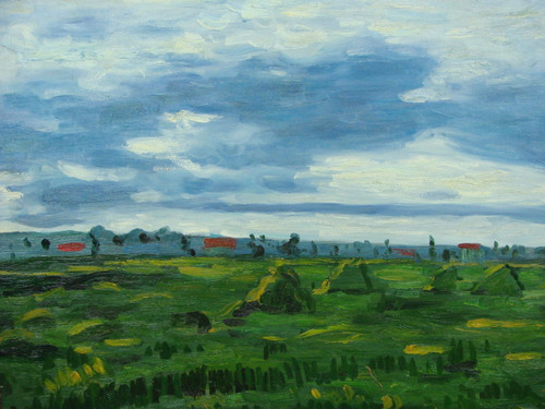 Beautiful medium sized painting, stretched but without frame, by B. J..  A cloudy blue sky looks down on a vast field of green vegetation.