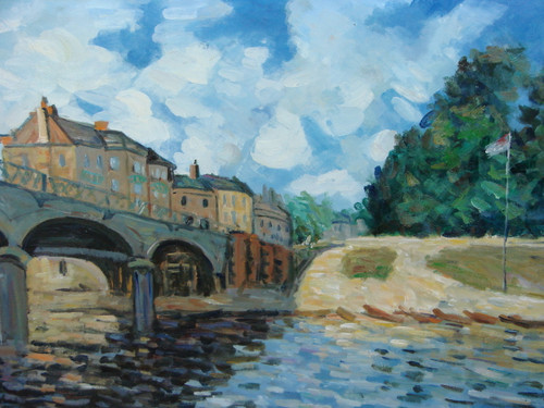 Beautiful medium sized painting, stretched but without frame, by Mickail.  A bridge spans a dark river leading to a town of tall beige buildings.