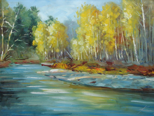 Beautiful medium sized painting, stretched but without frame, by Kingsley.  A bright blue stream bends through a forest of yellow leafed birch trees on one bank and green trees on the other bank.