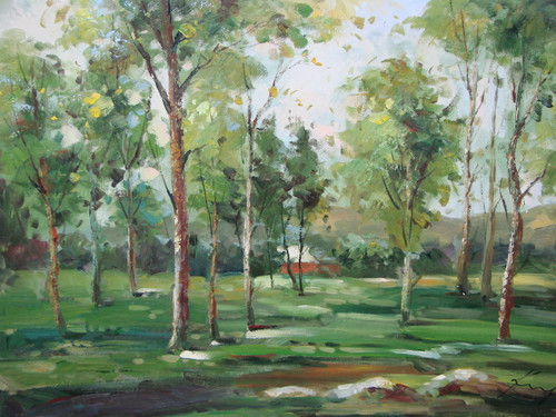 Beautiful medium sized painting, stretched but without frame, by Kingsley.  Tall trees with light green leaves grow in a field of green grass with a red barn in the background.