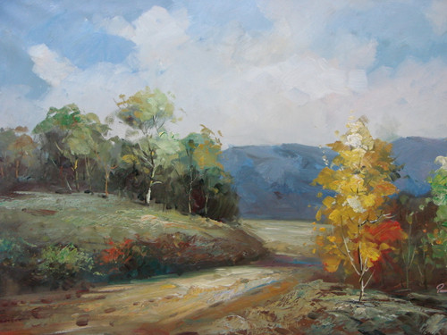 Beautiful medium sized painting, stretched but without frame, by Paul Seward.  A dirt road cuts through a hilly field of yellow and green trees with a mountain range in the background.