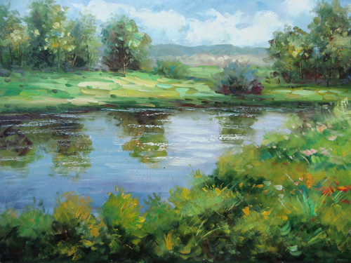 Beautiful medium sized painting, stretched but without frame, by Kingsley.  A reflective blue pond is surrounded by green grass and trees.