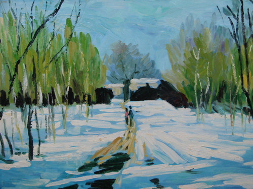 Beautiful medium sized painting, stretched but without frame, by Sarns.  A couple walks down a path lined with bright green trees, surrounded by snow.