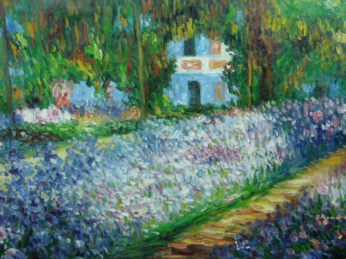 Beautiful medium sized painting, stretched but without frame, by J. Prama.  Rows of blue and lavender flowers fill the front yard of large house hidden by leafy green trees.